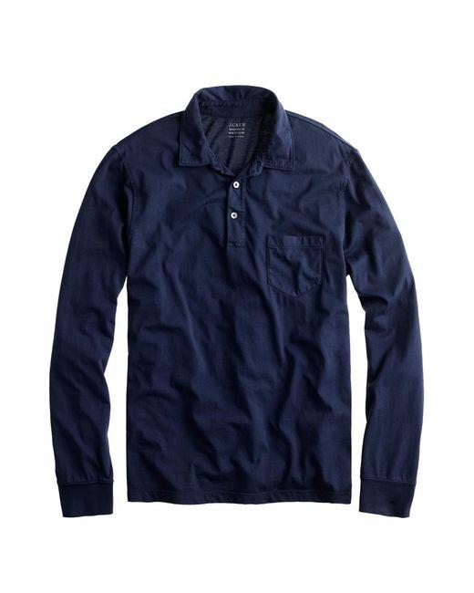 J.Crew - Blue Tall Broken-in Long-sleeve Pocket Polo Shirt for Men - Lyst