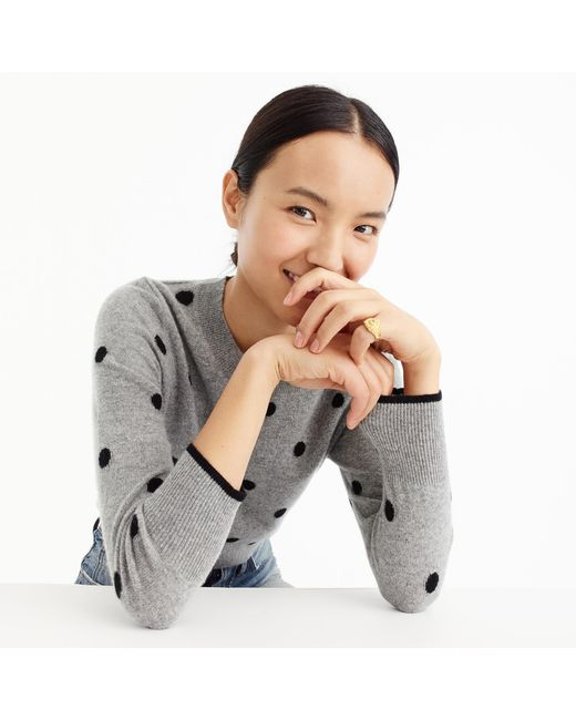 J.Crew | Gray Polka Dot Sweater In Everyday Cashmere | Lyst