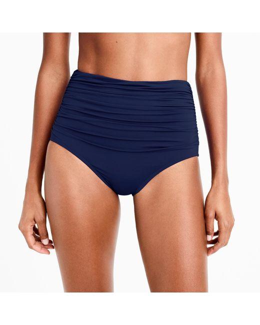 J.Crew | Blue High-waisted Ruched Bikini Bottom | Lyst