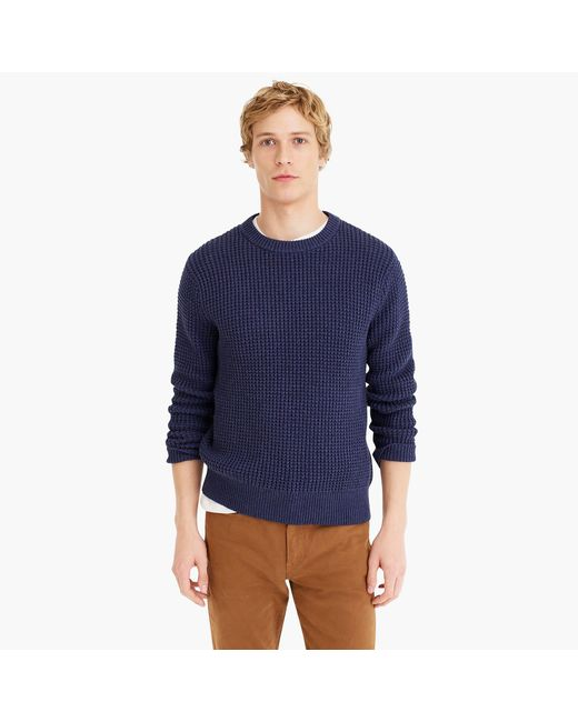 J.Crew - Blue Cotton Thermal Heavyweight Sweater for Men - Lyst