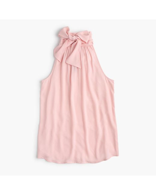 J.Crew | Pink Tie-neck Top | Lyst