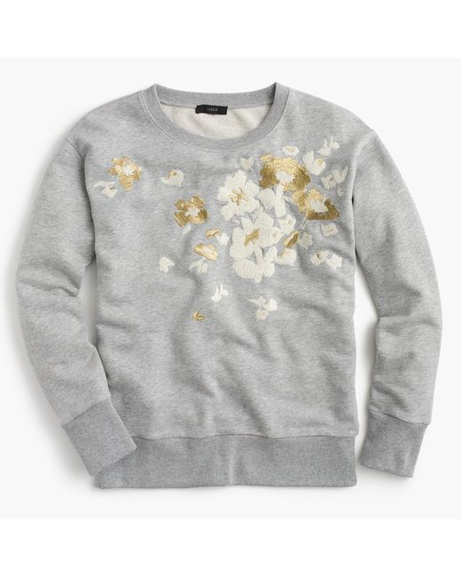 J.Crew - Multicolor Embroidered Flower Sweatshirt - Lyst