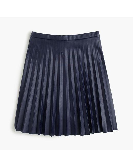 J.Crew | Blue Faux-leather Pleated Mini Skirt | Lyst