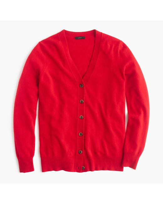 J.Crew | Red Classic V-neck Cardigan Sweater | Lyst