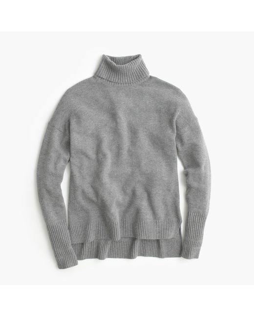 J.Crew | Gray Relaxed Wool Turtleneck Sweater With Rib Trim | Lyst