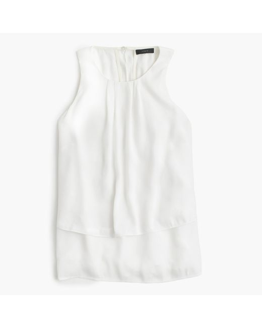 J.Crew | White Petite Tiered Crepe Top | Lyst