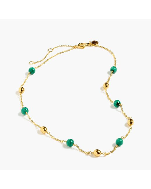 J.Crew - Multicolor Demi-fine 14k Gold-plated Malachite Beaded Necklace - Lyst