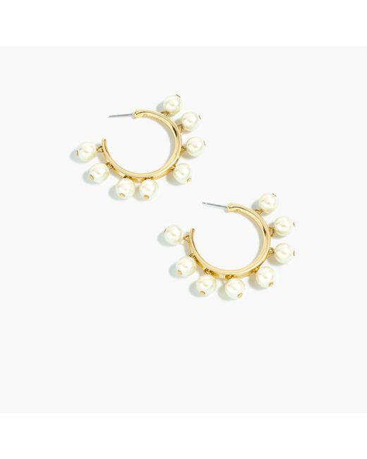 J.Crew | Multicolor Pearl-drop Hoop Earrings | Lyst