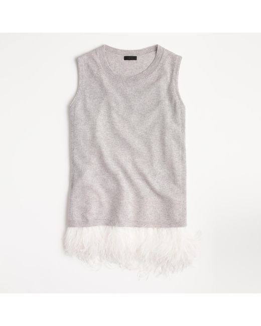 J.Crew   Multicolor Italian Cashmere Shell With Feathers   Lyst