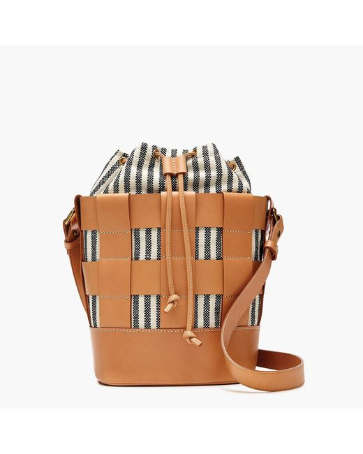 J.Crew - Multicolor Woven Leather-and-canvas Bucket Bag - Lyst