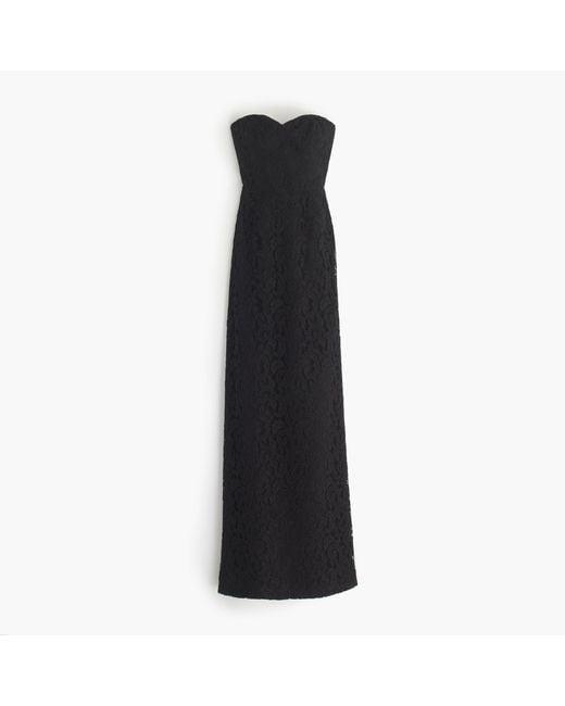 J.Crew | Black Natasha Long Dress In Leavers Lace | Lyst