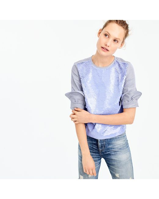 J.Crew | Blue Collection Sequin Striped Top | Lyst