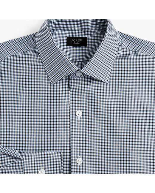 J.Crew - Ludlow Stretch Two-ply Easy-care Cotton Dress Shirt In Blue Tattersall for Men - Lyst