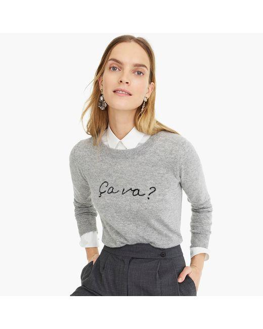 "J.Crew - Gray Long-sleeve Everyday Cashmere Crewneck Sweater In ""ça Va"" - Lyst"