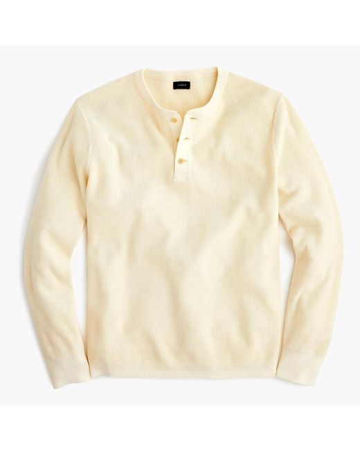 J.Crew - Natural Pigment-dyed Cotton Henley for Men - Lyst