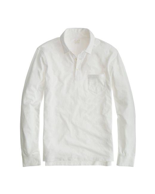 J.Crew - White Tall Broken-in Long-sleeve Pocket Polo Shirt for Men - Lyst