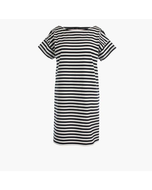 J.Crew | Blue Short-sleeve Striped Cotton Dress | Lyst