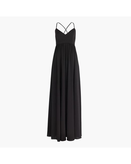 J.Crew | Black Long Drapey Spaghetti-strap Dress | Lyst