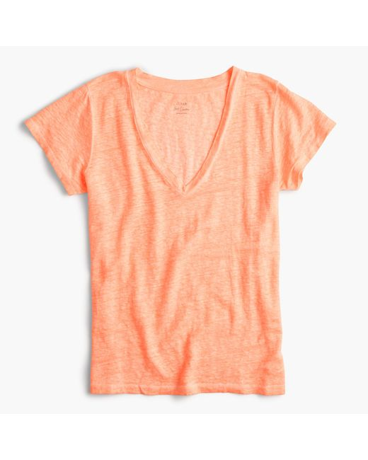 J.Crew | Orange New Linen T-shirt | Lyst