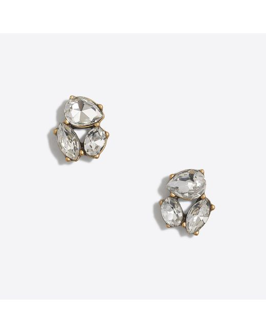 J.Crew - Metallic Crystal Trio Earrings - Lyst
