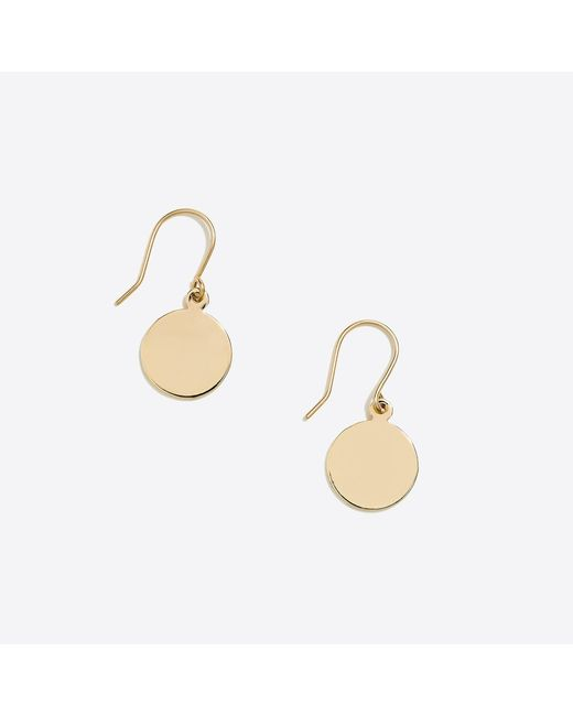 J.Crew - Metallic Golden Disc Drop Earrings - Lyst