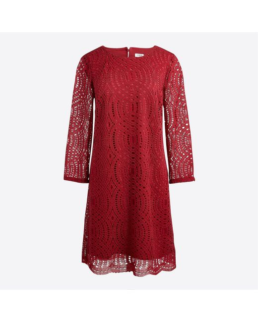 J.Crew - Red Three-quarter Sleeve Lace Shift Dress - Lyst