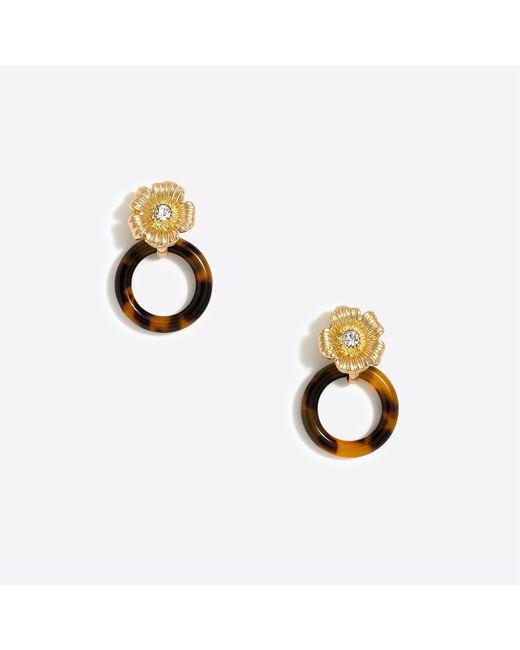 J.Crew - Metallic Tortoise Link And Flower Drop Earrings - Lyst