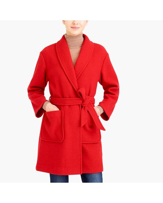 J.Crew - Red Belted Wrap Coat - Lyst