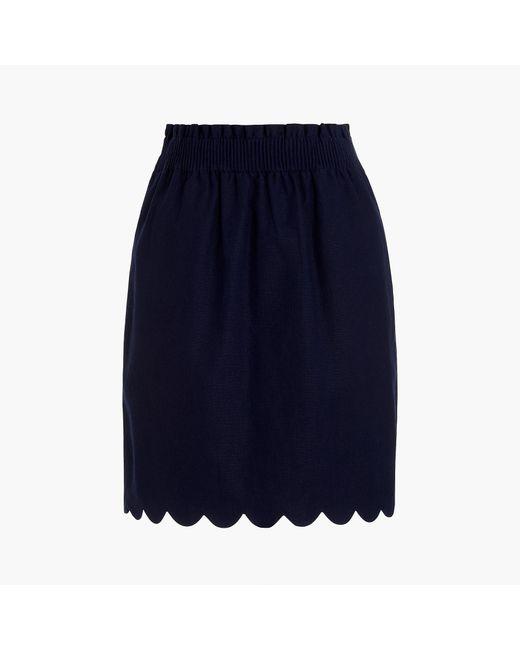 J.Crew Blue Scalloped Sidewalk Skirt