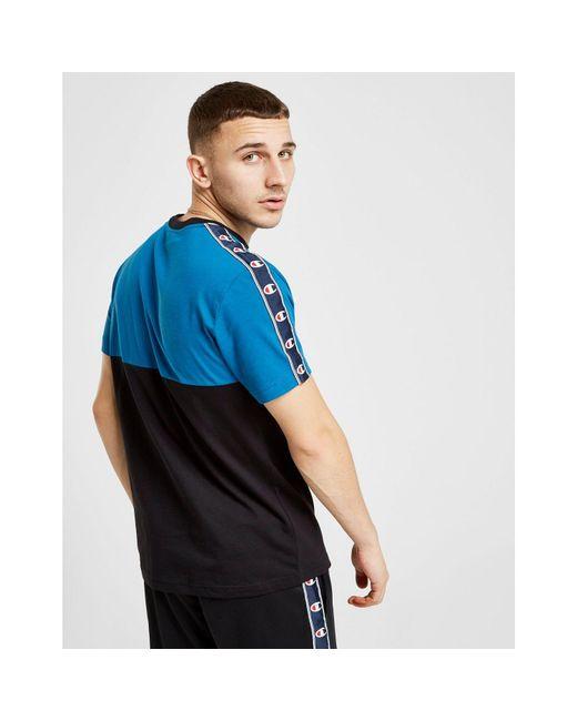af889732 ... Champion - Blue Colour Block Tape T-shirt for Men - Lyst ...