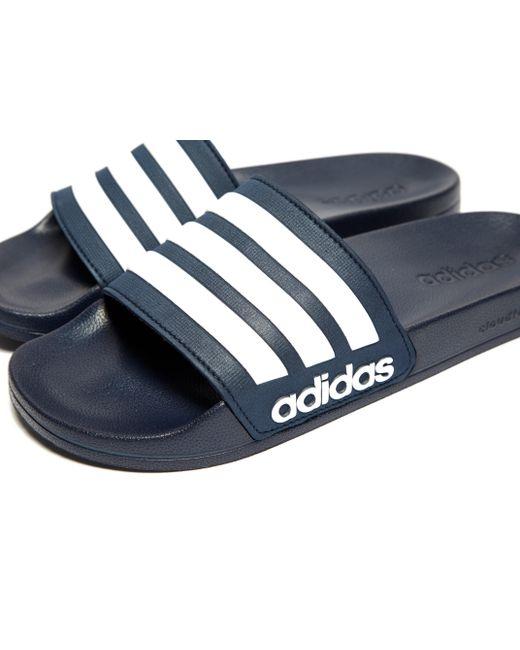 80fac1d453872 ... Adidas - Blue Cloudfoam Adilette Slides for Men - Lyst ...