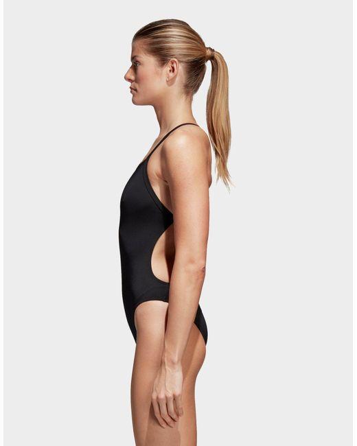 6be0ecced998e ... Adidas - Black 3-stripes Swimsuit - Lyst ...