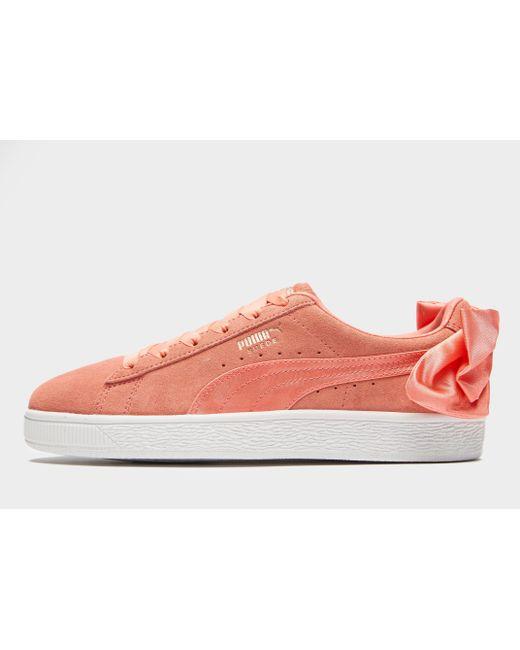 2530f3dd5ad PUMA - Pink Suede Bow - Lyst ...