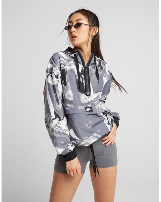 Nike - Gray Marble All Over Print Overhead Jacket - Lyst