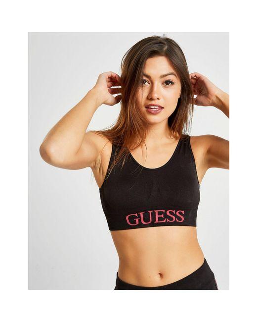4741e0e8fda8c9 Guess - Black Logo Bra - Lyst ...