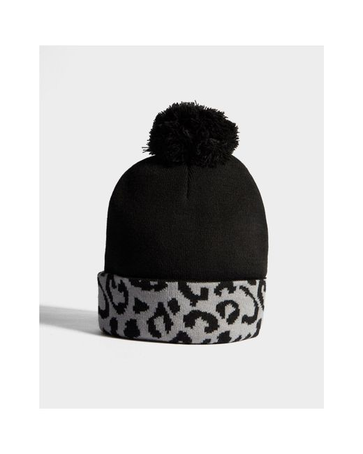 9a1af621 ... Adidas Originals - Black Pom Leopard Beanie for Men - Lyst ...