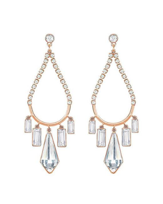 Lyst swarovski rose gold tone crystal chandelier earrings in swarovski metallic rose gold tone crystal chandelier earrings lyst aloadofball Image collections