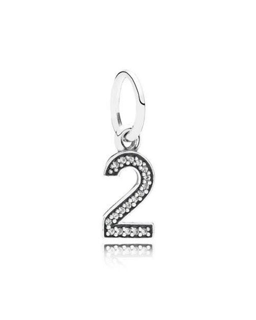 Pandora | Metallic Number Two Dangle In 925 Sterling Silver W/cubic Zirconia | Lyst