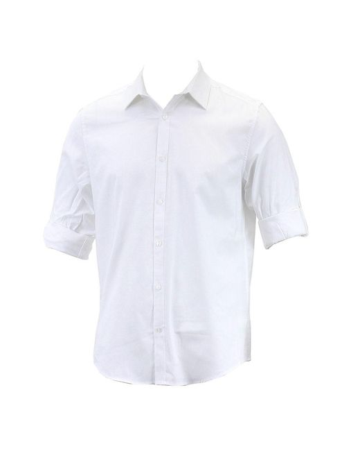 Calvin Klein - Black Non-iron Solid White Yd Oxford Button Up Dress Shirt for Men - Lyst