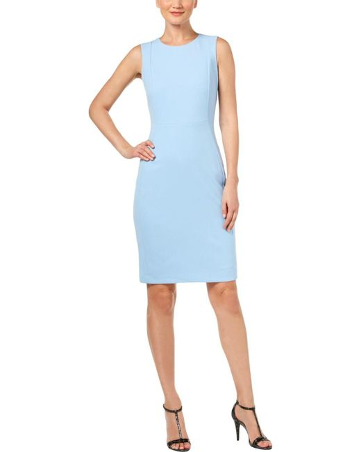 29b35b7d Calvin Klein Petites Sleeveless Crepe Sheath Dress in Blue - Save 31 ...