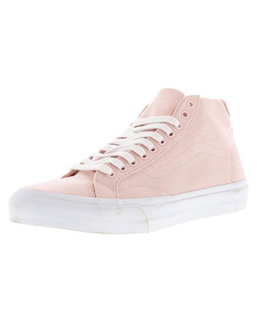 2da4b8499c2d92 Lyst - Vans Court Mid High-top Canvas Skateboarding Shoe - 8.5m in Pink