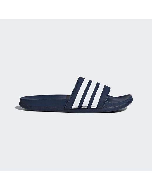 hot sale online 18776 a2a0c Adidas - Blue Adilette Cloudfoam Plus Stripes Slides for Men - Lyst ...
