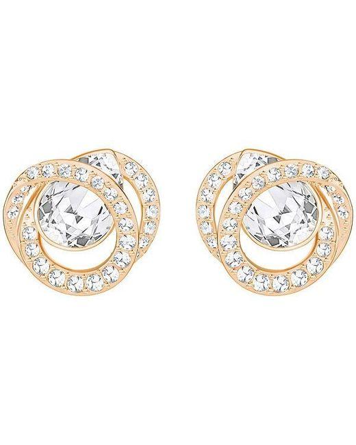 Swarovski - Metallic Rose Gold-tone Crystal Stud Earrings - Lyst