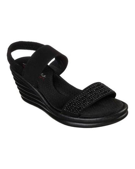 ebf8d139c89c Lyst - Skechers Rumblers Wave Glam Game Wedge Sandal in Black