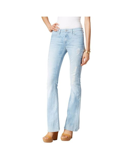 Calvin Klein - Blue Jeans Distressed Blotched Flare-leg Jeans - Lyst