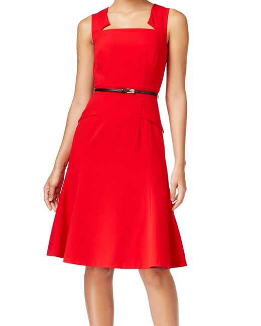 Calvin Klein | Red Size 10 Embellished Neck Sheath Dress | Lyst