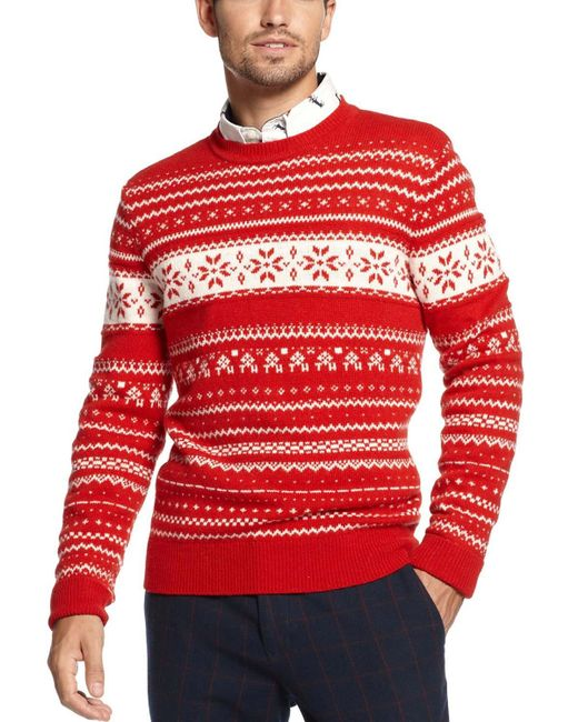Tommy Hilfiger - Red Barrginton Fair Isle Sweater for Men - Lyst