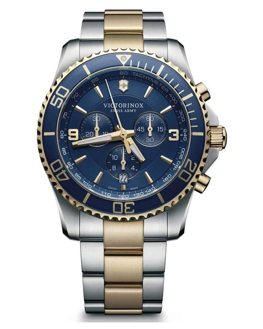 Victorinox - Blue Swiss Army V241791 Maverick Chronograph Watch Two-tone Silver/gold 43mm Stainless Steel for Men - Lyst