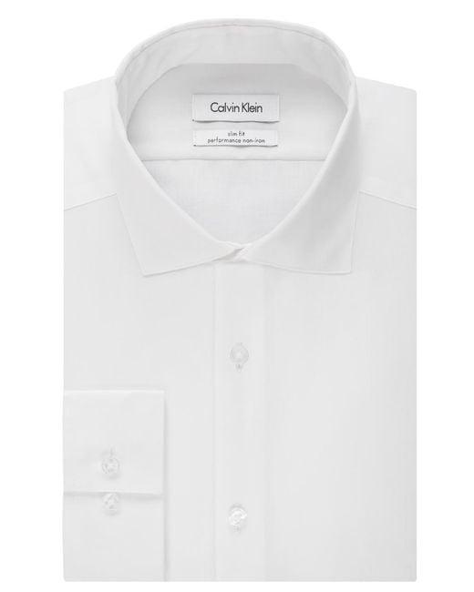 Calvin Klein   White Steel Men's Slim-fit Non-iron Performance Solid Dress Shirt for Men   Lyst
