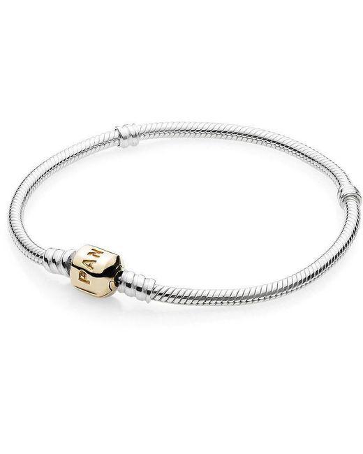Pandora - Metallic Sterling Silver Bracelet With 14k Gold Clasp - Lyst